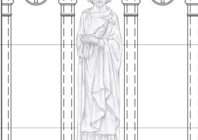 Sketch of a statue for the stone carver