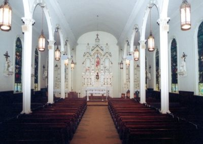 View of the interior before the restoration which included new gilded ceiling coffers