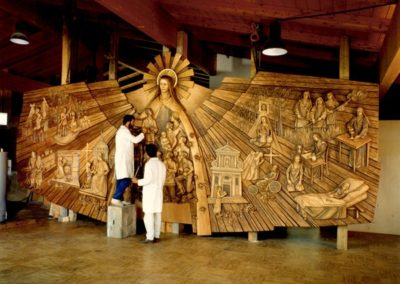 Wooden sculpture being carved for St. Therese Chapel