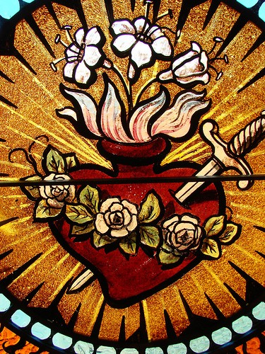 Detail of stained glass conservation - St. Mary Catholic Church - Photo: Br. Stephen Treat, O.Cist.
