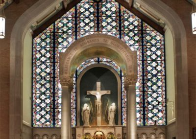 The new interior stained glass creates a backdrop to the new baldacchino - Photo by: Looney Ricks Kiss