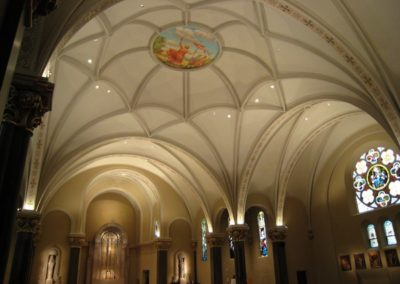 The completed ceiling mural installed in the church