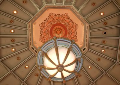 A view from below shows the new stencil work that was created - Photo courtesy of Indiana Landmarks