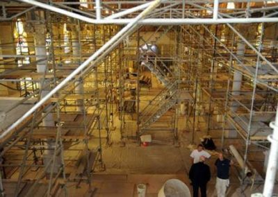 Scaffolding crisscrosses the nave at St. Mary Magdalen, Abbeville, Louisiana