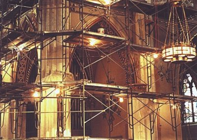Scaffolding is errected for the scagliola repair.