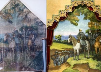 Mural restoration for the Lincoln Theatre. The before and after images show the transformation.