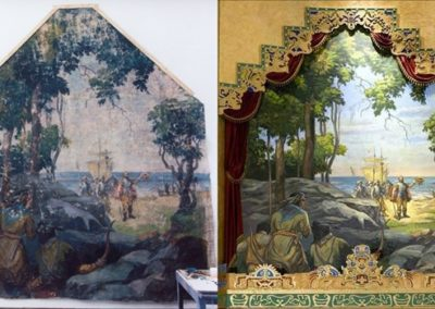 Before and after images - mural restoration for the Lincoln Theatre