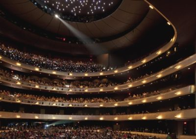 The completed gilded tiers at the new Winspear Opera House, Photo: Nigel Young / Foster + Partners