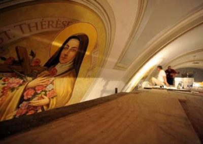 The murals are installed in place at St. Mary Magdalen, Abbeville, Louisiana