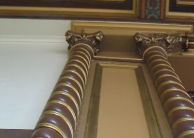 A look up at the ceiling and pillars in the Schofield Barracks, Quad F Theatre