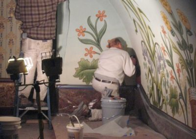 The installation of a new floral mural