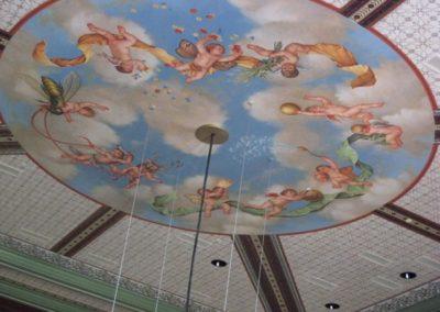 The newly installed cherub mural