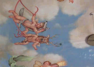 A detail of the new cherub mural