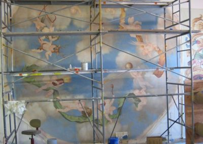 Scafolding in the Studio allows for creation of the new cherub mural