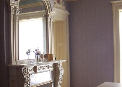 Completed Restoration - The restored Marie Antoinette Room at the Bass Mansion, University of Saint Francis