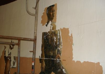 Murals were revealed under layers of paint during the historic paint investigation