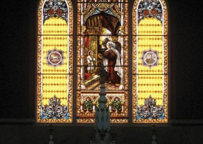 Stained glass replication of hurricane damaged window for St. Theresa of Avila, New Orleans. Louisiana