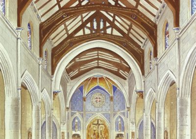 An early rendering shows the initial thoughts on color scheme in the sanctuary