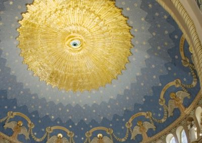 Looking up to the dome and its faux mosaic