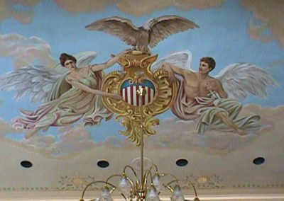 The restored allegorical figures 'Justice and Mechanics' mural in the courtroom of the Lawrence County Courthouse, Deadwood, SD