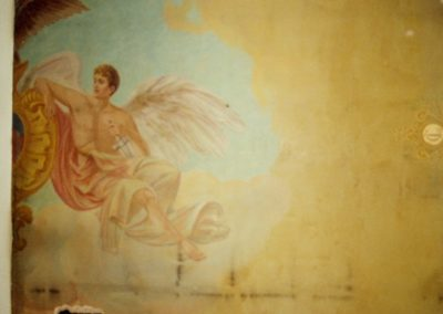 The right side of the 'Justice and Mechanics' courtroom mural before conservation