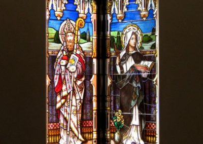 "View of two new windows each 31"" x 94"", in place at St. Augustine Catholic Church"