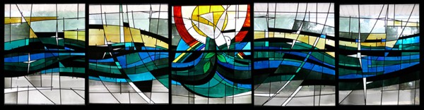 "Five panels show ""The Flow of God's Spirit."" windows"