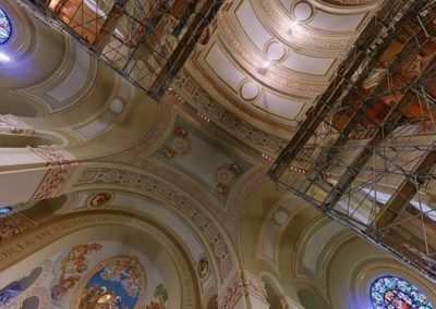 A view of the Cathedral during the restoration with floor to ceiling scaffolding