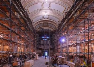 Scaffolding fills both sides of the Cathedral