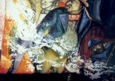 Water damage is shown on a portion of the mural to be conserved