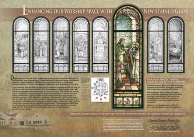 A fundraising board shows the congregation the new glass designs