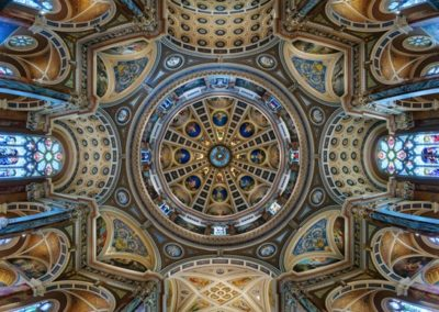 Looking up at the ornately decorated dome