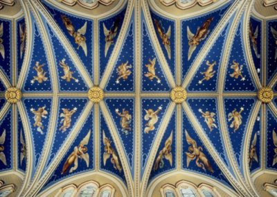 Restored ceiling, Basilica of the Sacred Heart, Notre Dame - Photo: Don Dubroff