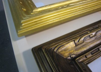 A newly gilded frame will be glazed to match the finished frame on the right