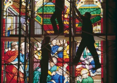 Stained Glass Conservation, Basilica of the Sacred Heart, Notre Dame - Photo: Don Dubroff