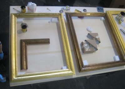 Gilding/glazing in progress to match the frame on the right