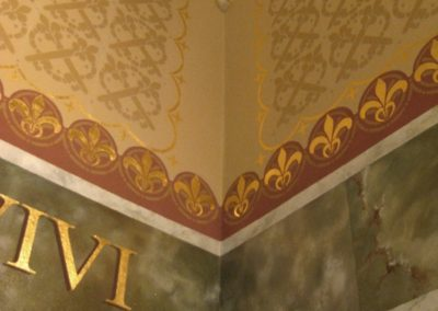 Detail of faux marble, stencils and gilding
