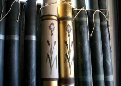 A sample of the organ pipes shows the lost and restored design