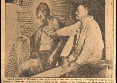 1933 newspaper article about Conrad Schmitt conserving a mural at the Basilica of the Sacred Heart, Notre Dame