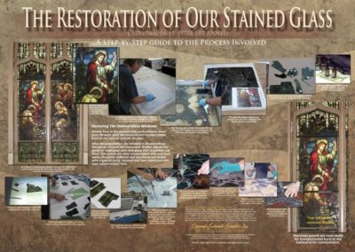 A display board shows the conservation process for the stained glass