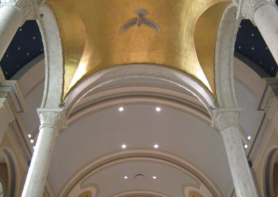 23K gold leaf is used to create a faux mosaic on the underside of the baldachino