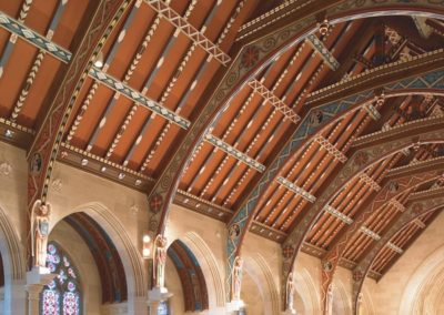 Decorative paint on ceiling beams at Sacred Heart Cathedral, Rochester, NY