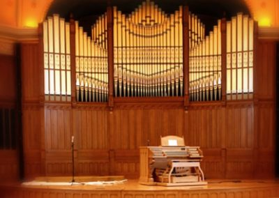 The restored organ pipes installed - Photo courtesy of Indiana Landmarks