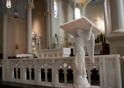 Completed restoration shows the beautiful new installed marble communion rail - Photo by Danny Izzo