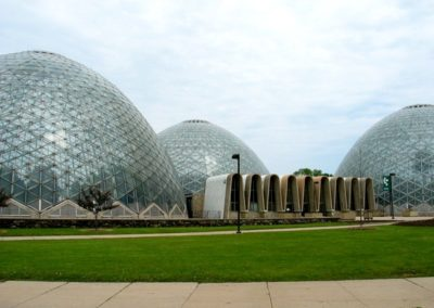 An exterior shot of the domes that house the three horticultural showcases