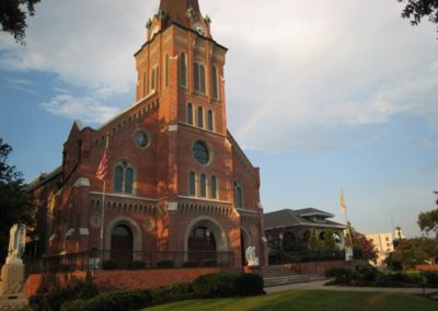 Exterior shot of St. Mary Magdalen, Abbeville, Louisiana