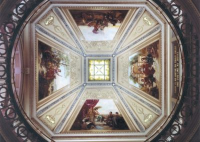 Conserved murals on the ceiling at the Brown County Courthouse