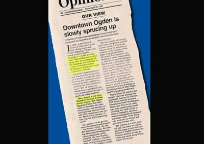 Newspaper article regarding the revitalization of Downtown Ogden