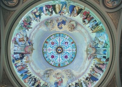 Conservation of murals by John A. Mallin in the dome at the St. Hyacinth Basilica, Chicago, IL.