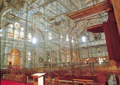 A view from the altar looking up through the massive scaffolding needed for the restoration project.